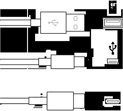 Tyypin A, tyypin B ja tyypin C liittimillä varustettu USB-kaapeli
