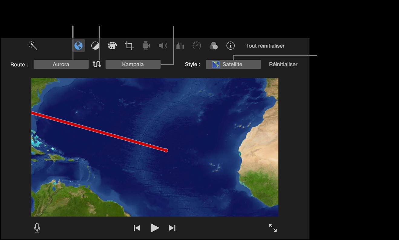 Commandes de carte de voyage animée au-dessus du visualiseur, permettant de définir le point de début et de fin, modifier l'itinéraire et choisir le style de plan