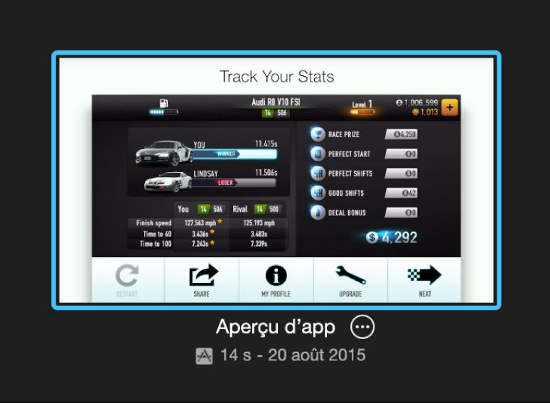 Projet Aperçu d'app dans la présentation Projets