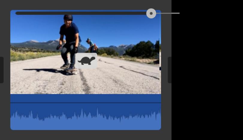 Icône de lapin et curseur de vitesse apparaissant sur un plan de la timeline