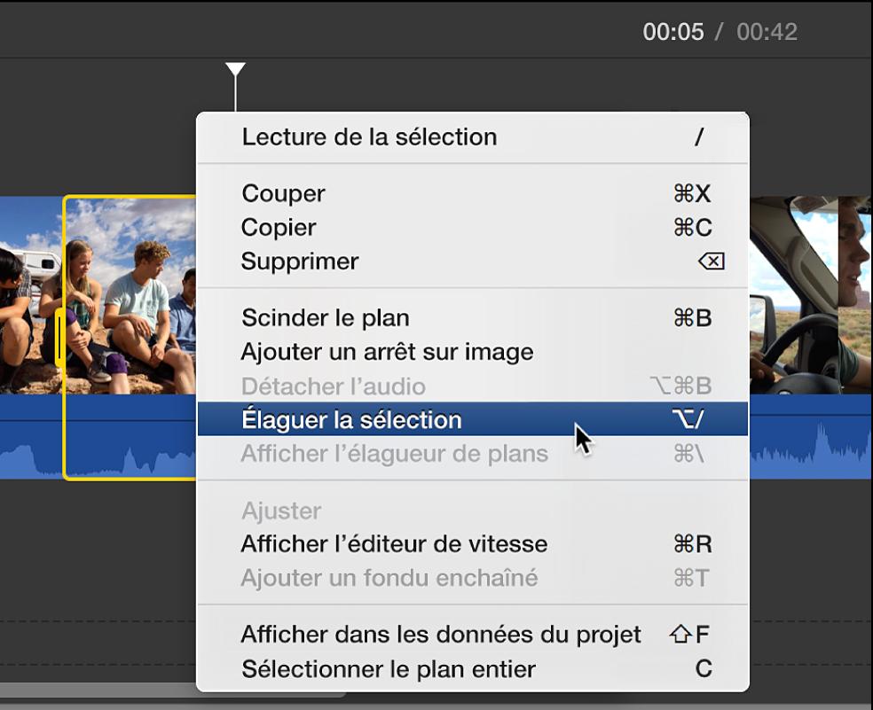 L'option Élaguer la sélection en train d'être choisie dans le menu contextuel de la timeline