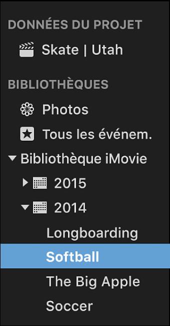 Liste de bibliothèques affichant les événements triés et groupés par année