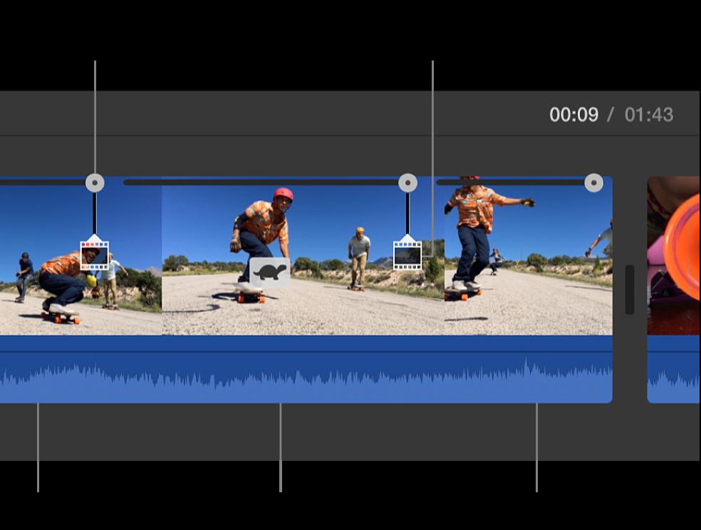 Icône de tortue et curseurs de vitesse apparaissant sur un plan de la timeline