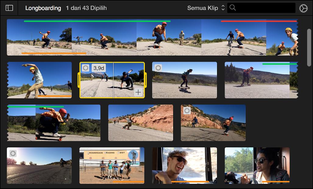 Browser menampilkan klip yang dipilih dengan tepi kuning dan durasi klip di pojok kiri atas