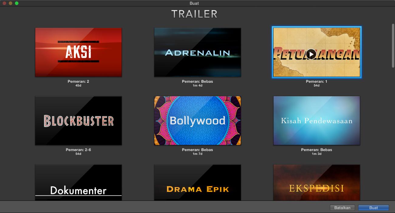 Jendela Buat menampilkan pratinjau trailer