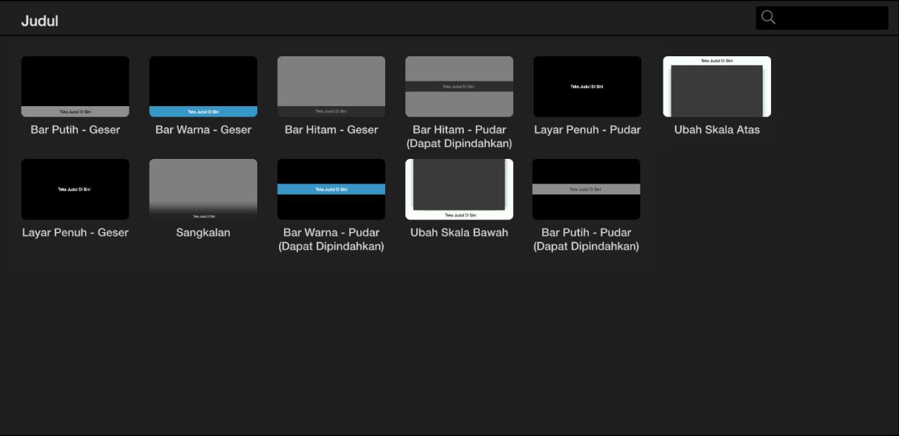 Browser menampilkan gaya judul pratinjau app yang tersedia