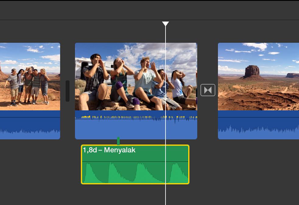 Klip audio dipilih di garis waktu
