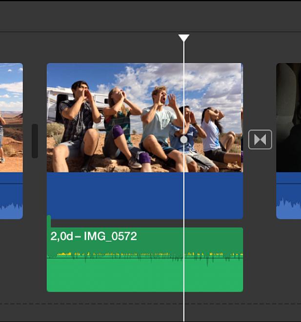 Klip dengan audio terlepas di garis waktu