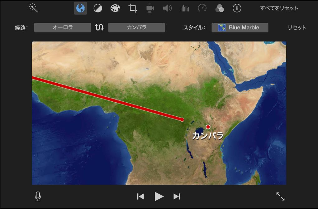 ビューアのアニメートされた旅行地図