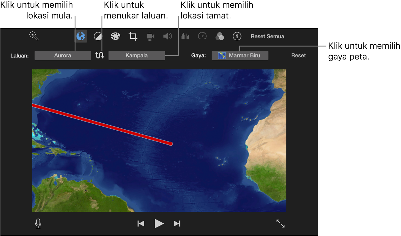 Kawalan peta perjalanan beranimasi di atas pemapar untuk mengesetkan lokasi mula dan tamat, menukar arah laluan dan memilih gaya peta