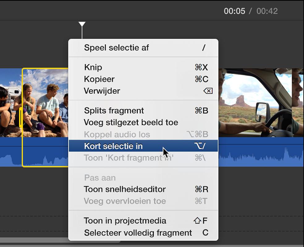 'Kort selectie in' wordt gekozen uit het contextuele menu in de tijdbalk