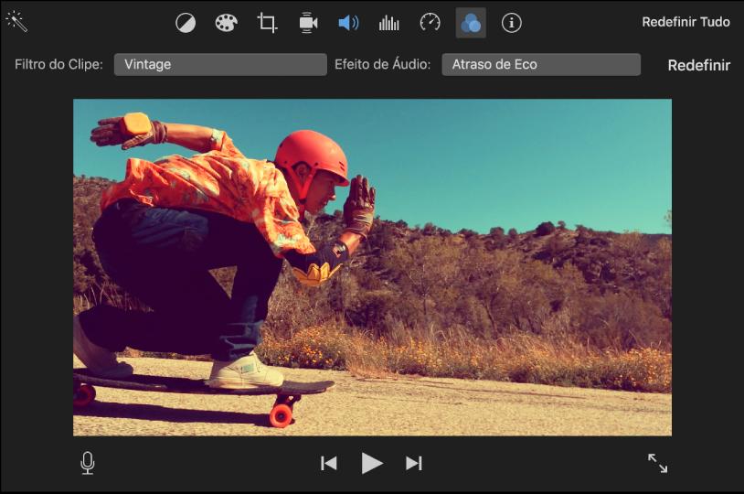 """Visualizador mostrando um clipe com um filtro aplicado e os controles """"Filtro do Clipe"""" acima do visualizador"""