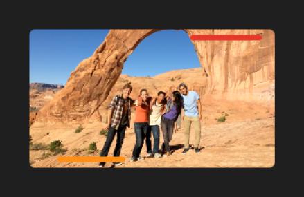 Clipe no navegador com linha vermelha na parte superior de fotogramas marcados como rejeitados