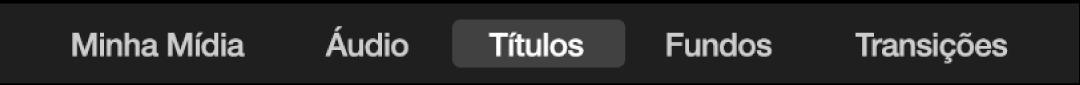 Títulos, selecionado acima do navegador