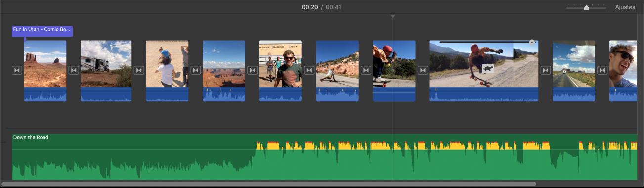 Linha do tempo mostrando miniaturas de clipes de vídeo e um clipe de áudio abaixo dos clipes de vídeo