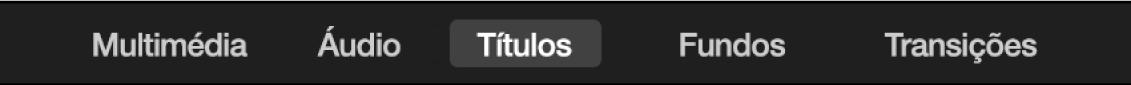Opção Títulos selecionada por cima do navegador