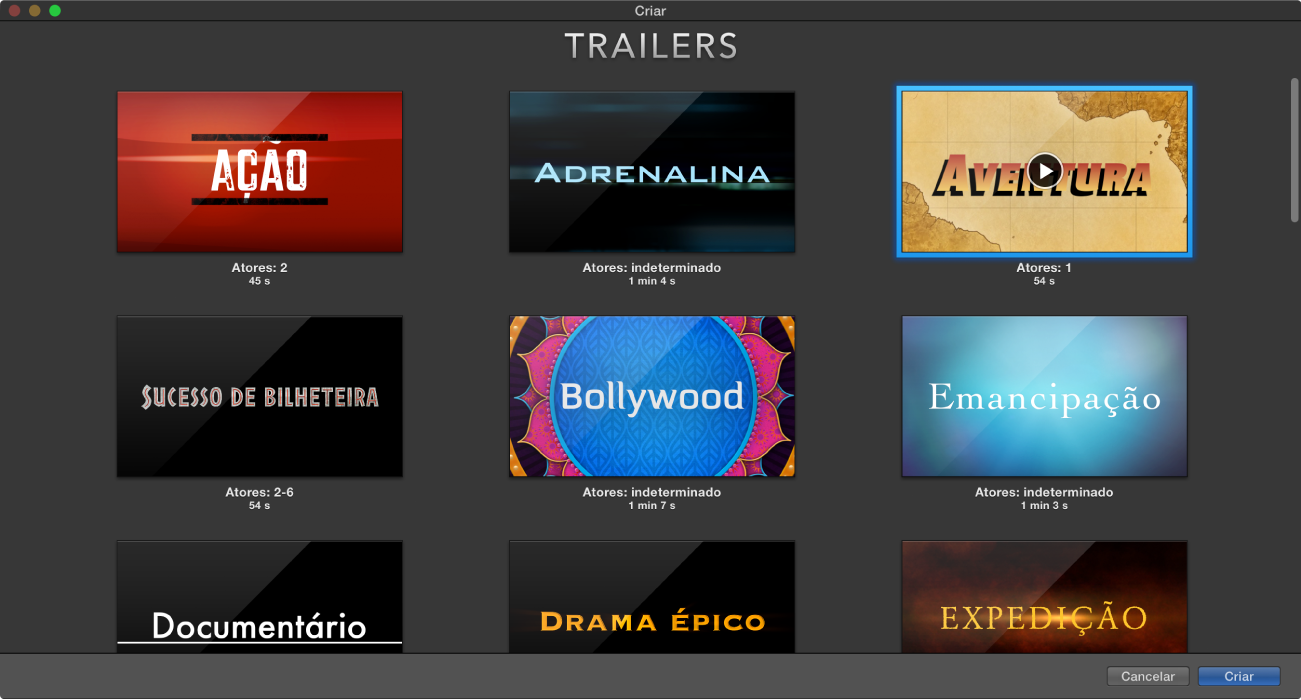 Janela Criar com pré-visualizações dos trailers
