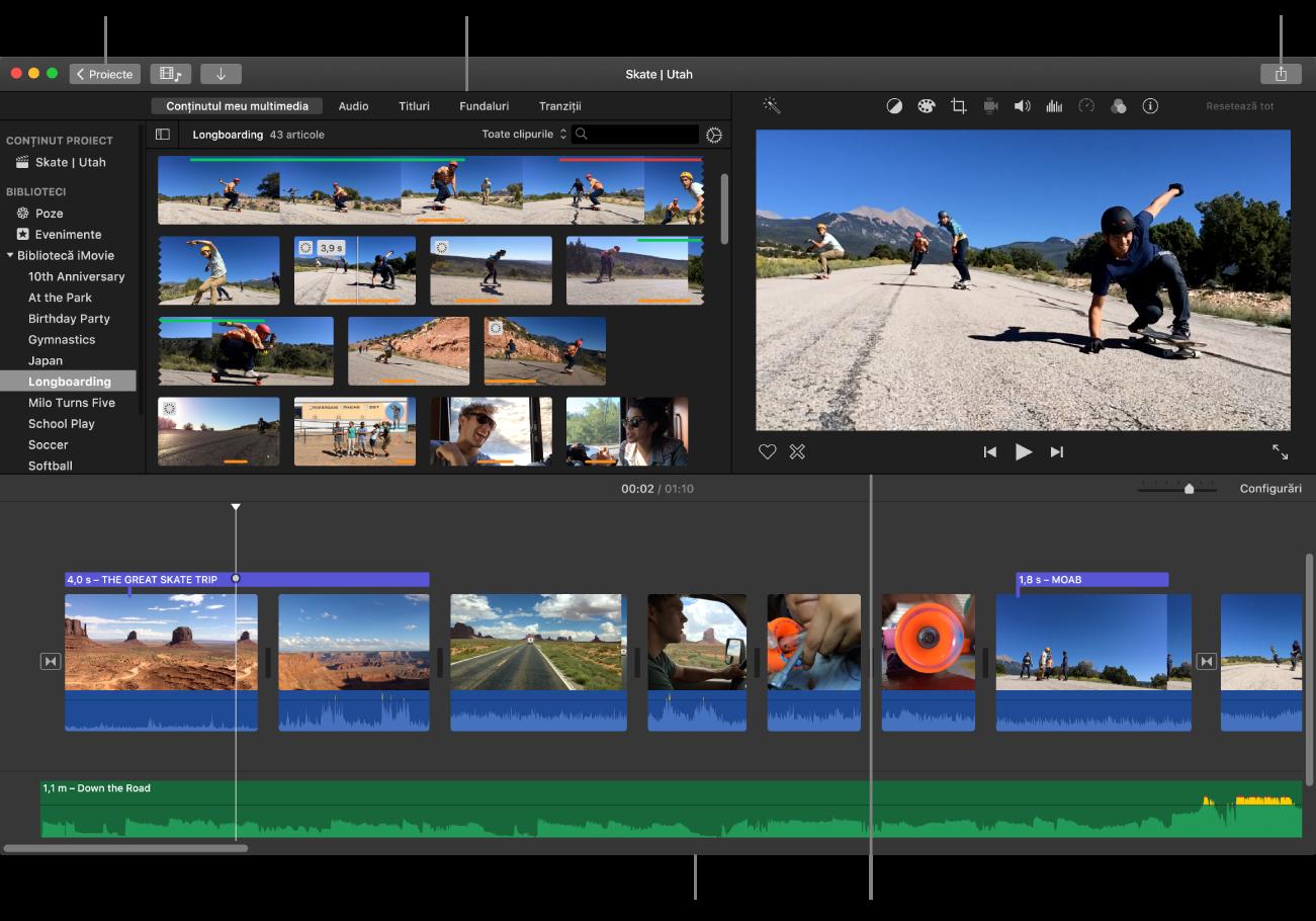 Fereastra principală a iMovie afișează browserul în stânga sus, vizualizatorul în dreapta sus și cronologia jos