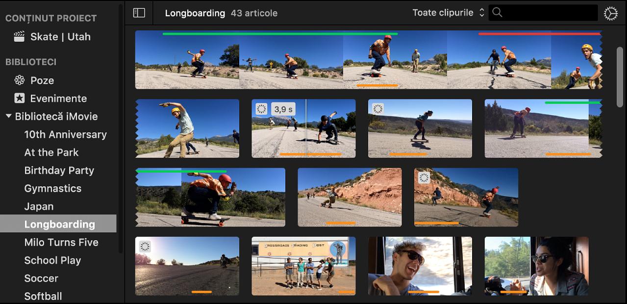 Eveniment selectat din lista de biblioteci și clipuri din eveniment care apar în browserul din dreapta