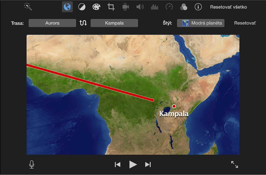 Animovaná cestovná mapa vprehliadači