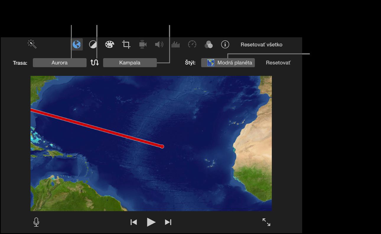 Ovládanie animovanej cestovnej mapy nad prehliadačom s možnosťou nastavenia začiatočného a koncového miesta, zmeny smeru trasy a výberu štýlu mapy