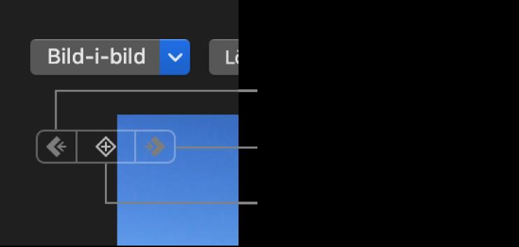 Knapparna för föregående referensbild, nästa referensbild och radering av referensbild i visningsfönstret
