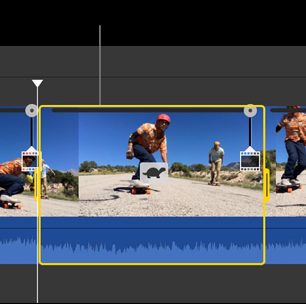 含有選取範圍速度更動的剪輯片段