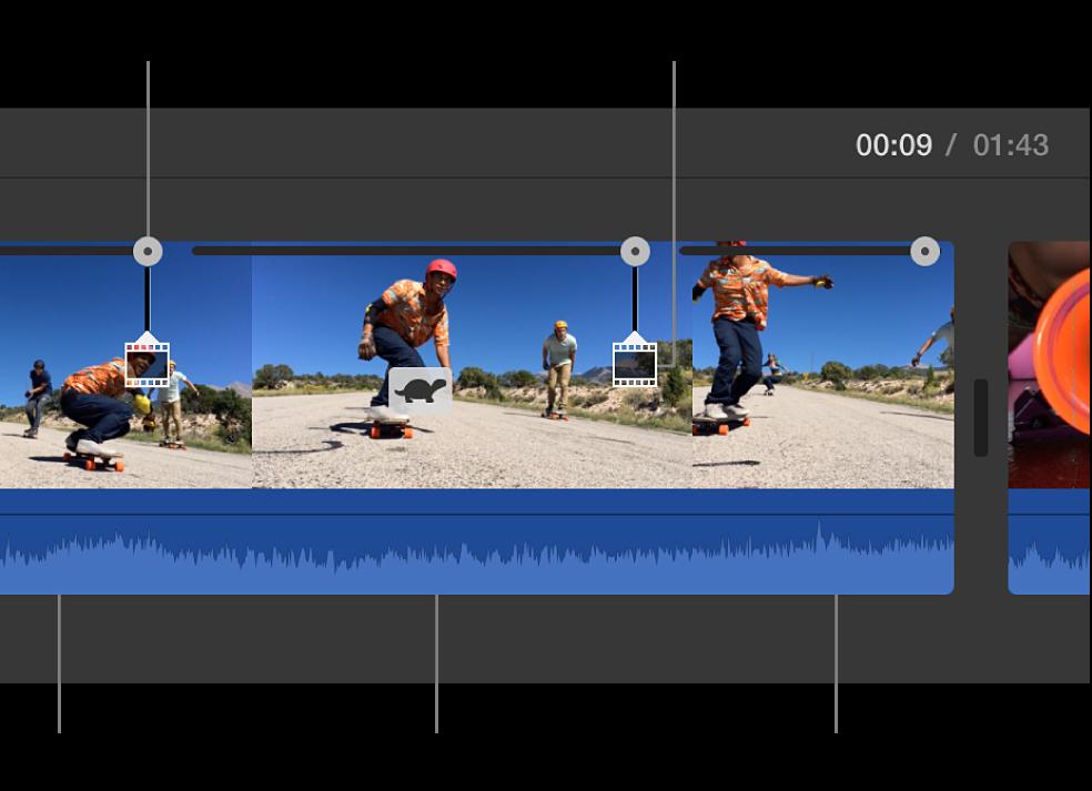 顯示在時間列中剪輯片段上的烏龜圖像和速度滑桿