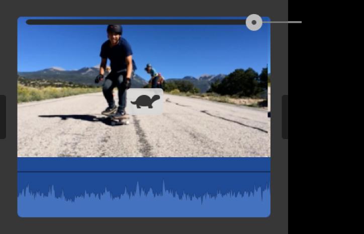 顯示在時間列中剪輯片段上的兔子圖像和速度滑桿