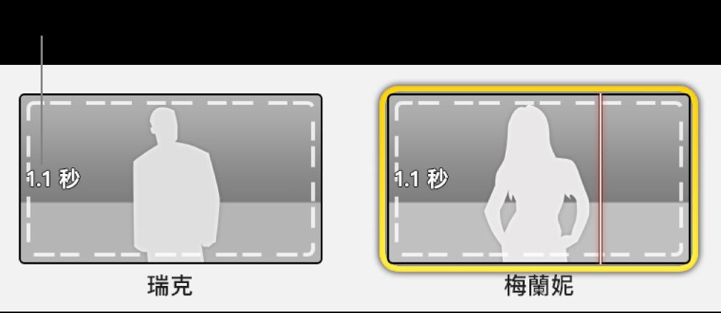 具有時間戳記的預告片暫存區,指出所需影片的長度