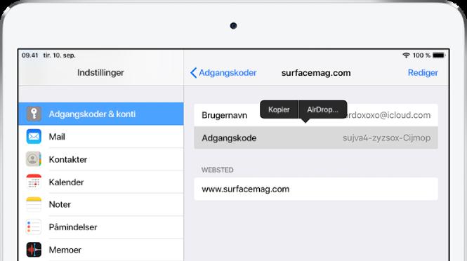 Skærmen Adgangskoder til et websted. Adgangskodesektionen er valgt, og der vises en menu ovenover, som indeholder elementerne Kopier og AirDrop.
