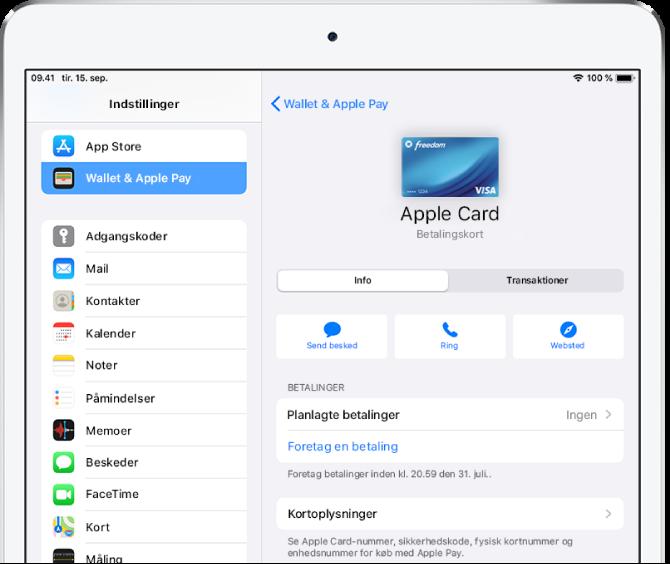 Oplysningsskærmen til Apple Card.