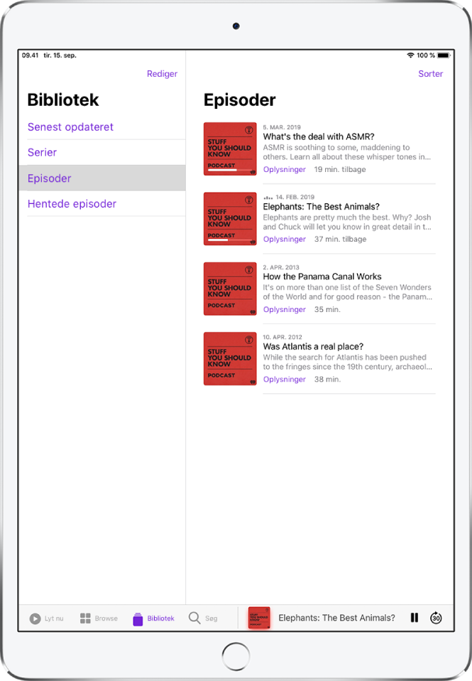 Fanen Bibliotek, der viser podcasts, som er opdateret for nylig.