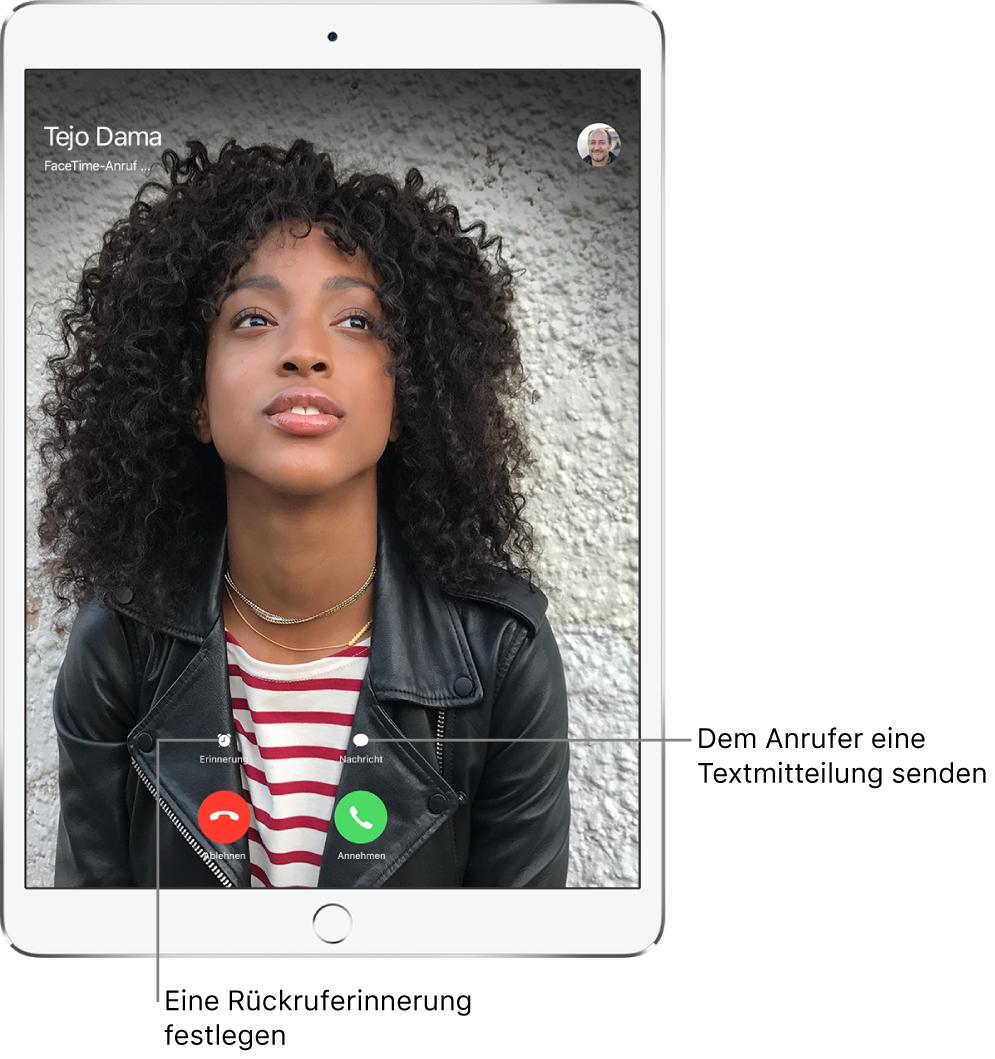 """Der Bildschirm für den eingehenden Anruf. Unten auf dem Bildschirm befinden sich in der oberen Reihe von links nach rechts die Tasten """"Erinnerung"""" und """"Nachricht"""". In der unteren Reihe befinden sich von links nach rechts die Tasten """"Ablehnen"""" und """"Annehmen""""."""