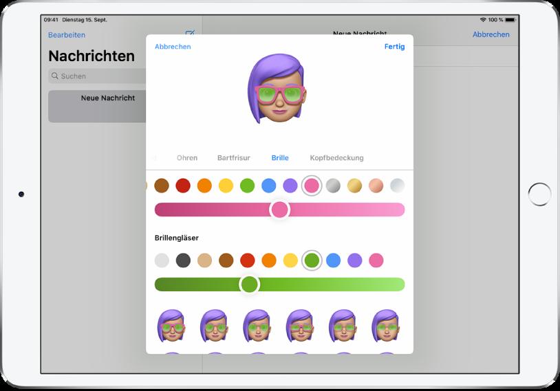 """Ein Bildschirm zum Erstellen eines Memoji in der App """"Nachrichten"""", in dem du eine Brille auswählen kannst."""