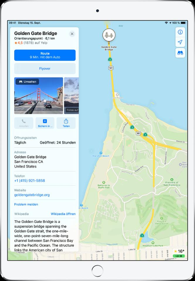 Eine Karte mit der Golden Gate Bridge. Auf der Informationskarte links auf dem Bildschirm sind Tasten zu sehen, mit denen du Wegbeschreibungen anfordern, eine Flyover-Tour starten und einen Telefonanruf tätigen kannst. Auf der Informationskarte sind auch weitere Infos wie die Öffnungszeiten, die Adresse und die Website angegeben.