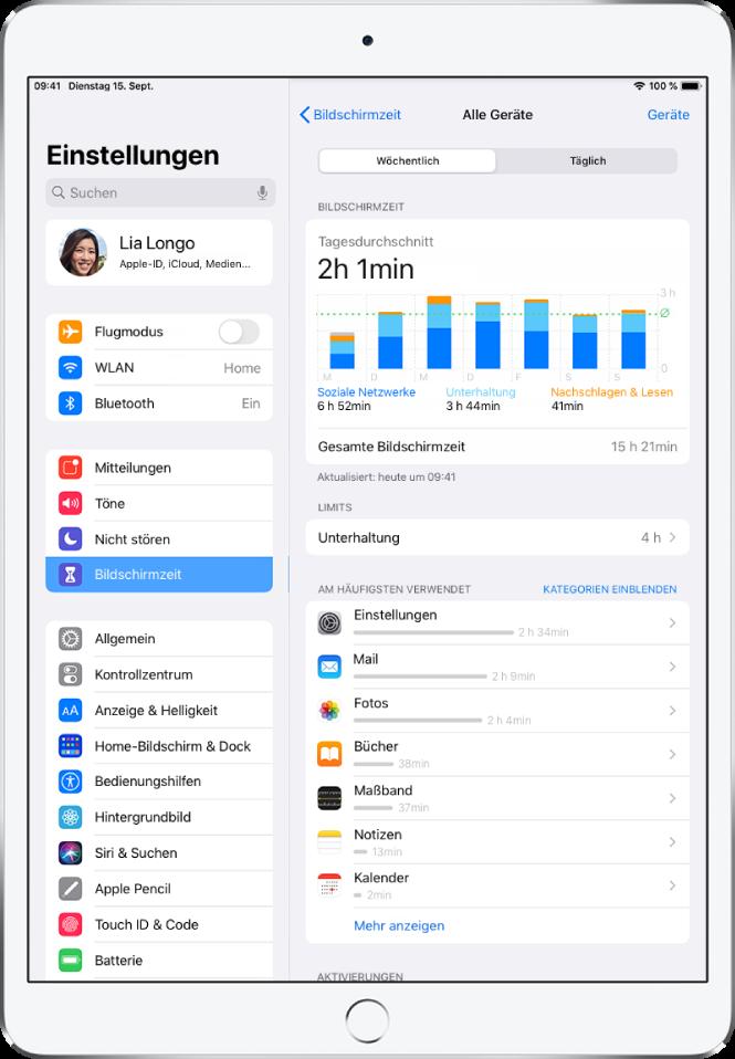 """Ein Wochenbericht der Funktion """"Bildschirmzeit"""" mit Angaben zu der mit Apps verbrachten Zeit aufgeteilt nach Kategorie und App."""