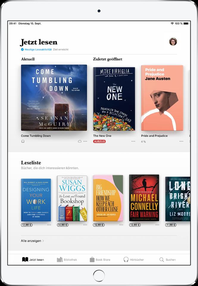 """Ein Bildschirm in der App """"Bücher"""". Unten auf dem Bildschirm sind von links nach rechts die Tabs """"Jetzt lesen"""", """"Bibliothek"""", """"BookStore"""", """"Hörbücher"""" und """"Suchen"""" zu sehen, wobei der Tab """"Jetzt lesen"""" ausgewählt ist. Oben auf dem Bildschirm befindet sich der Bereich """"Jetzt lesen"""", in dem die Bücher zu sehen sind, die du gerade liest. Darunter befindet sich der Bereich """"Leseliste"""" mit Büchern, die du vielleicht als Nächstes lesen möchtest."""