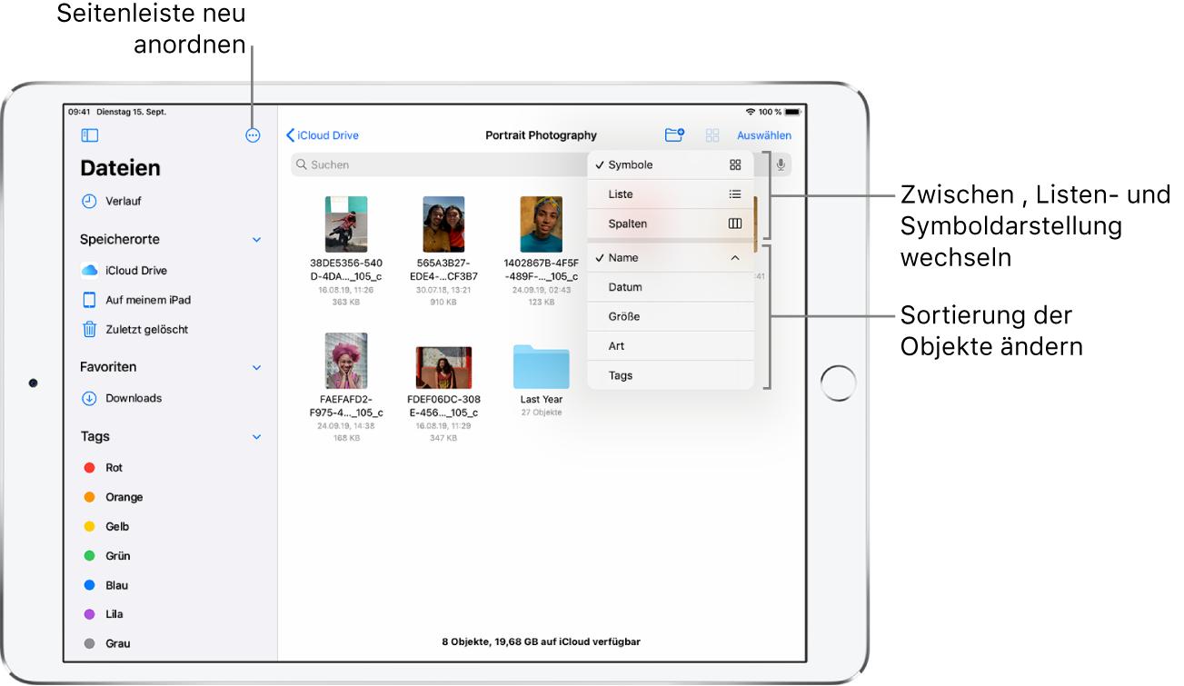 Ein iCloudDrive-Speicherort mit Tasten zum Umorganisieren der Seitenleiste, zum Sortieren nach Name, Datum, Größe, Art und Tags und zum Umschalten zwischen Listen- und Symboldarstellung.