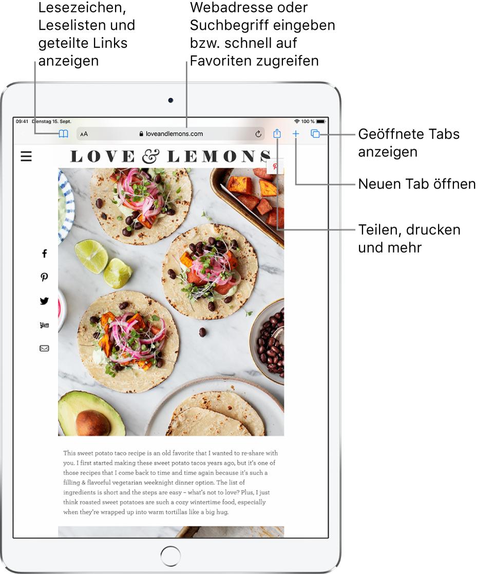 """Eine in Safari geöffnete Webseite, auf der von links nach rechts die folgenden Steuerelemente zu sehen sind: die Tasten """"Zurück"""", """"Vorwärts"""" und """"Lesezeichen"""" sowie das Adressfeld und die Tasten """"Teilen"""", """"Neuer Tab"""" und """"Seiten""""."""