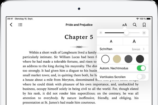 """In einem Buch wurde das Menü """"Erscheinungsbild"""" ausgewählt. Von oben nach unten sind Steuerelemente für folgende Einstellungen zu sehen: Helligkeit, Schriftgröße, Schriftstil, Seitenfarbe, automatischer Nachtmodus und Rollansicht."""