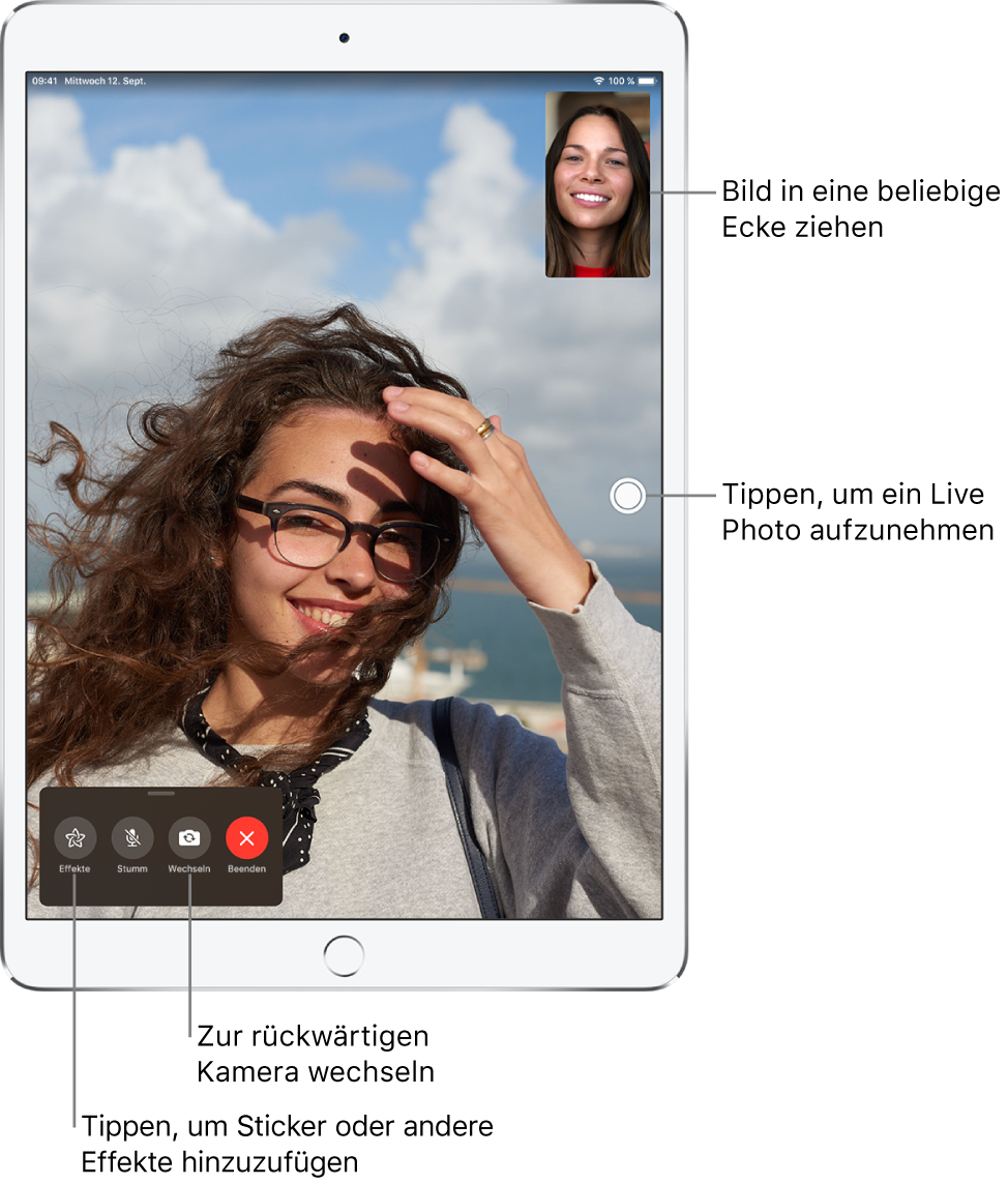 """Der Bildschirm """"FaceTime"""" während eines Anrufs. Dein Bild wird in einem kleinen Rechteck rechts oben angezeigt. Das Bild der anderen Person füllt den Bildschirm. Am unteren Bildschirmrand sind die Tasten """"Effekte"""", """"Stumm"""", """"Wechseln"""" und """"Ende"""" zu sehen."""