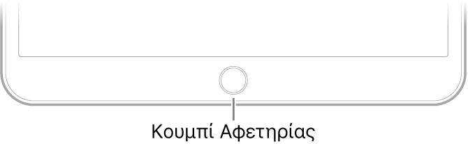 Το κουμπί Αφετηρίας στο κάτω μέρος τμήμα του iPad.