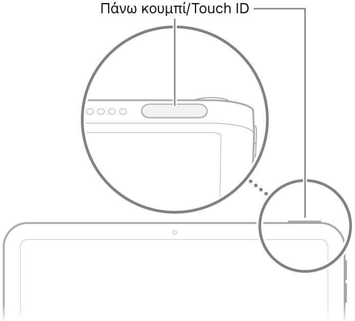 Το πάνω κουμπί/Touch ID στο πάνω μέρος του iPad.