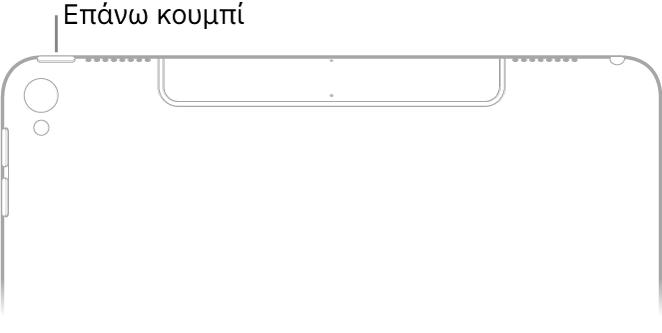 Το πίσω μέρος του επάνω τμήματος του iPad. Το πάνω κουμπί (ή το κουμπί Ύπνου/Αφύπνισης) βρίσκεται στην κορυφή της πάνω αριστερής γωνίας.