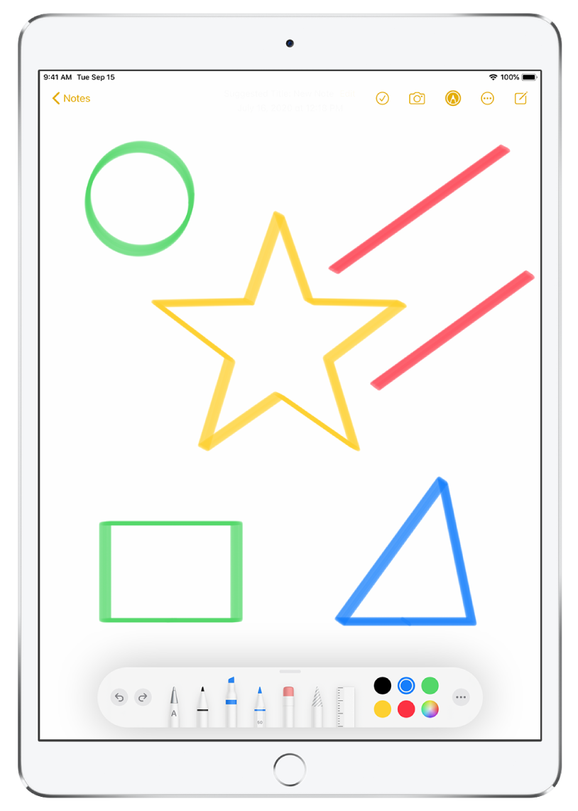 A note in the Notes app filled with different colored stars, lines, and shapes.
