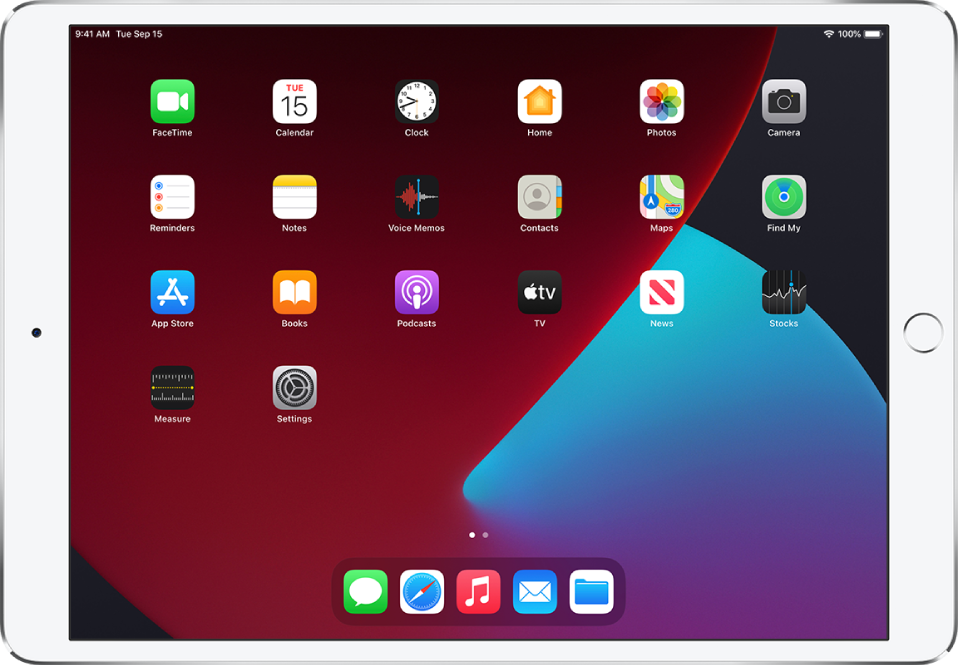 The iPad Home Screen with Dark Mode turned on.