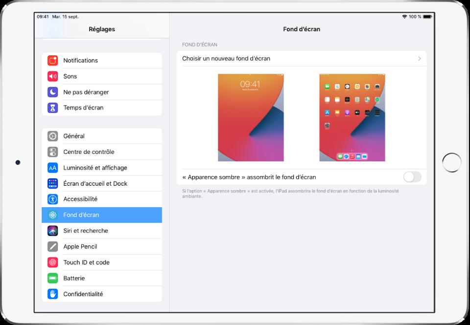 Écran des réglages du fond d'écran, avec le bouton permettant de sélectionner un nouveau fond d'écran en haut et des images de l'écran verrouillé et de l'écran d'accueil avec le fond d'écran actuel.