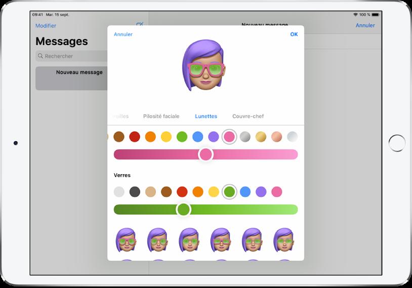L'écran de création d'un Memoji dans l'app Messages où vous pouvez choisir les lunettes.