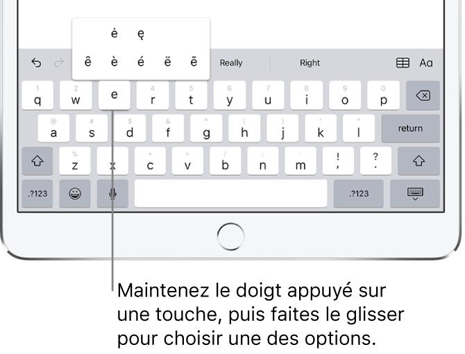 Écran affichant les caractères accentués secondaires pour la touche «e».